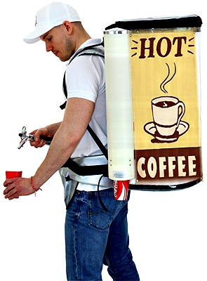 backpack for coffee hawker dispensing